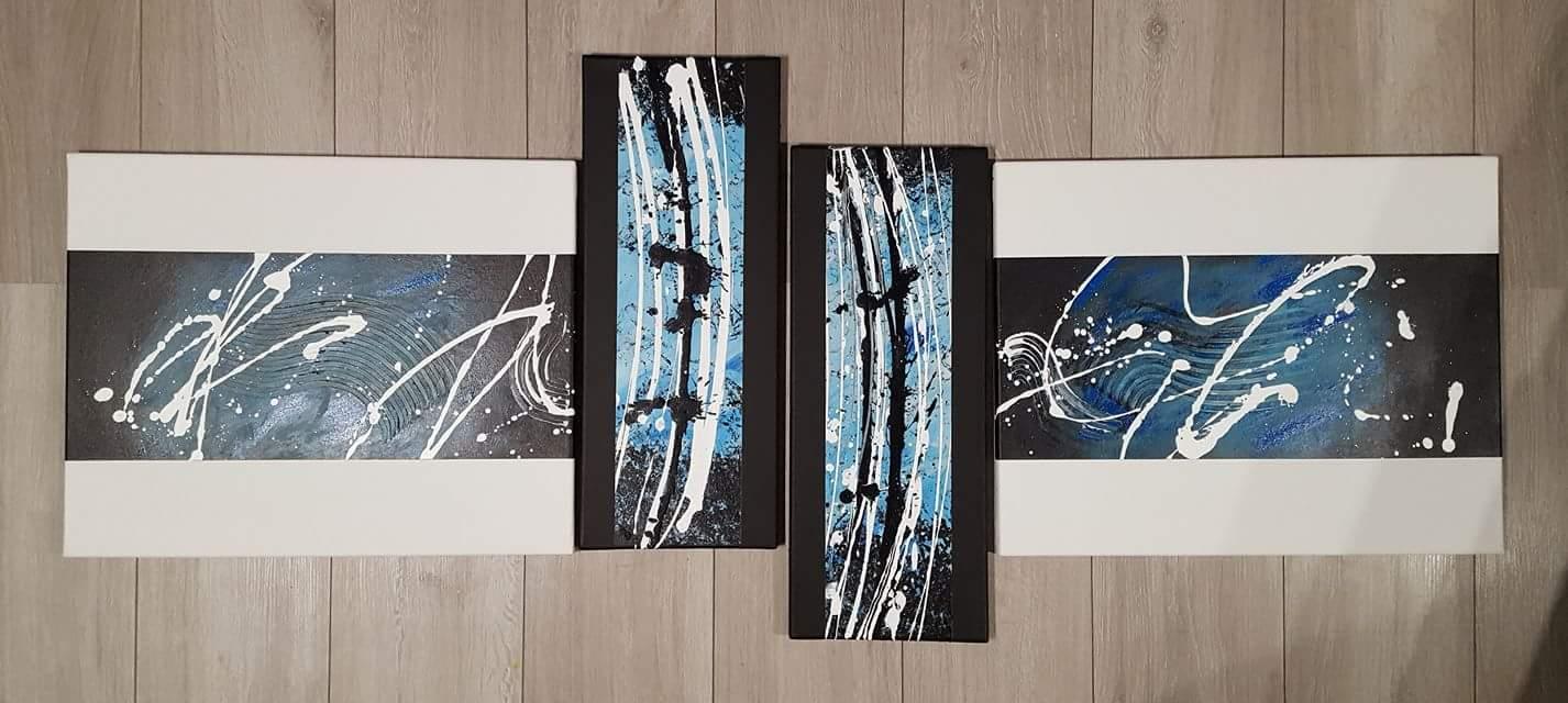 Abstrakta N°6 Quadriptyque acrylique sur 4 toiles 140 x 50 cm