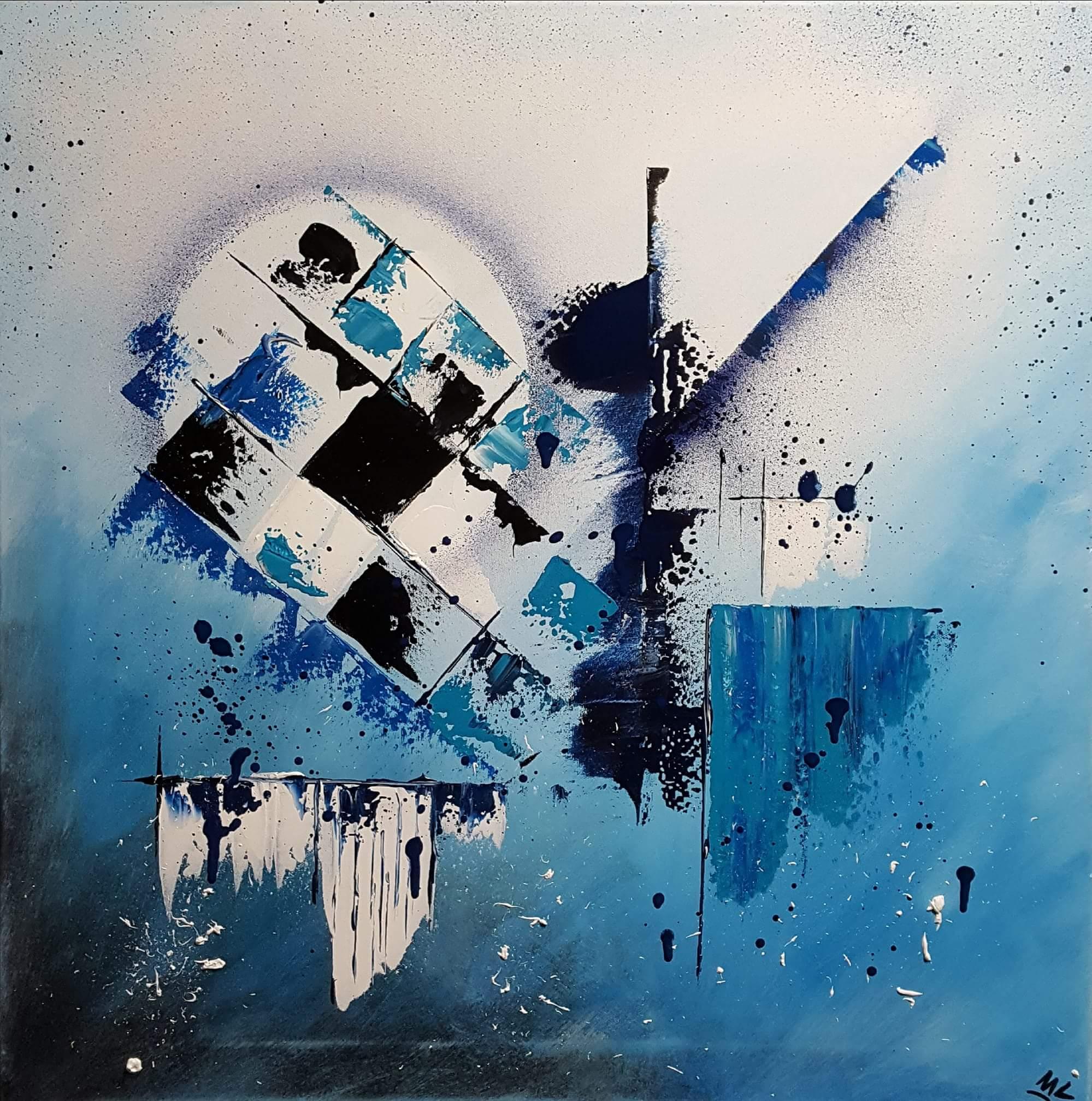 Abstrakta acrylique sur toile 60 x 60 cm