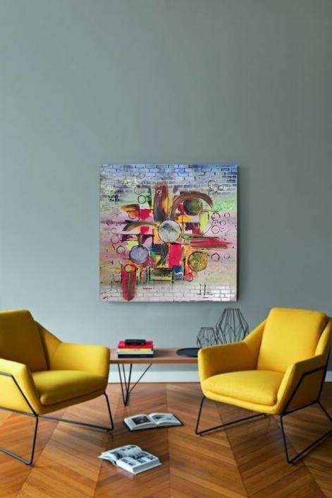 Abstrait Acrylique sur toile Michèle LASSERRE