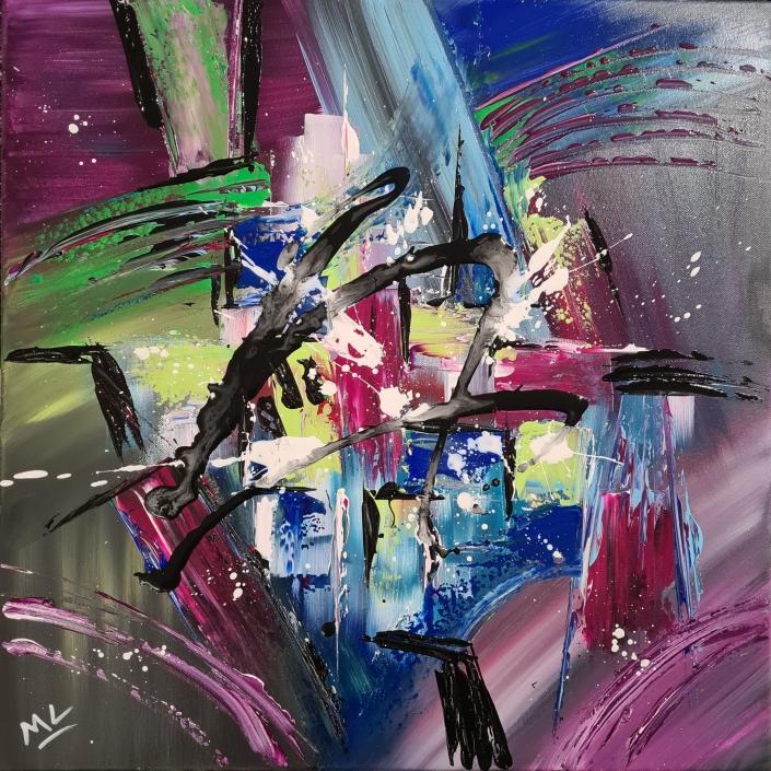 Strio N° 2 - Acrylique sur toile 50 x 50 cm . Michèle LASSERRE . Peintre Abstrait
