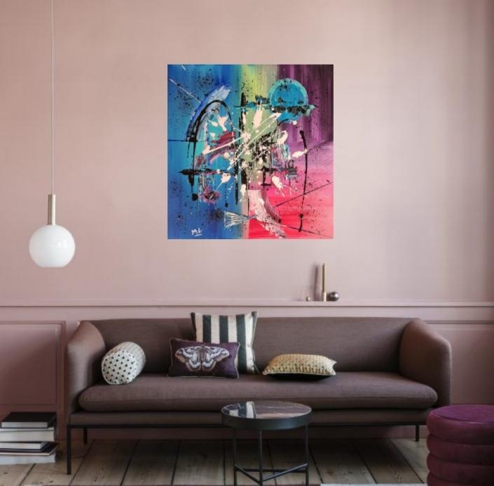 Art abstrait acrylique sur toile Bleu rose vert