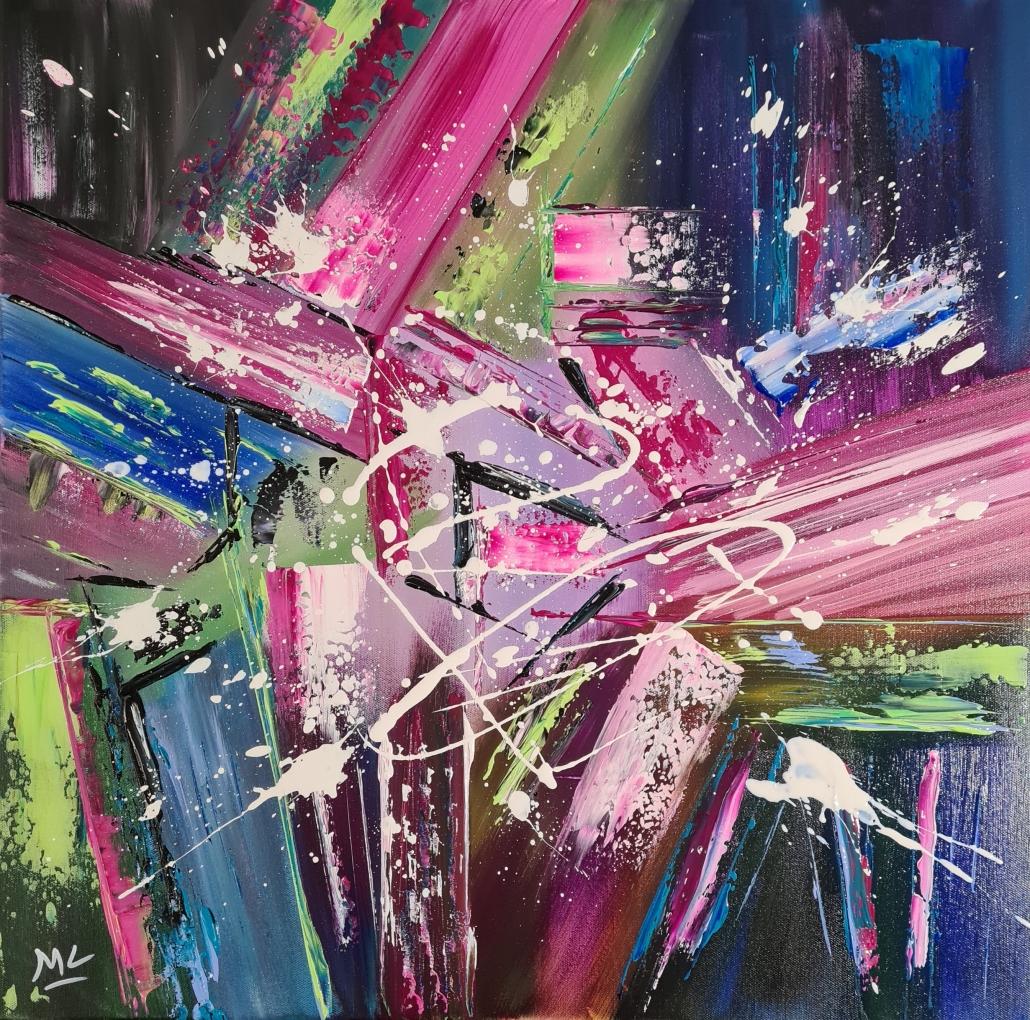Peinture abstraite acrylique sur toile 60 x 60 cm